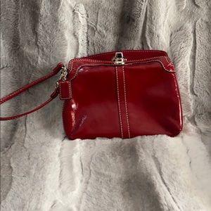 Red Coach wristlet purse